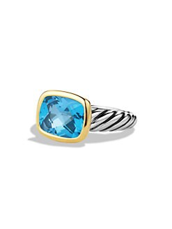David Yurman - Blue Topaz, Sterling Silver & 18K Yellow Gold Ring