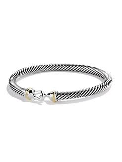 David Yurman - Sterling Silver & 18K Gold Bangle Bracelet
