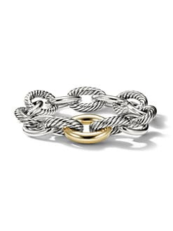 David Yurman - Sterling Silver & 18K Gold Chain Link Bracelet