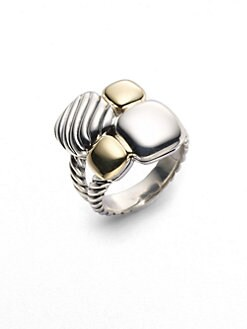 David Yurman - Sterling Silver & 18K Yellow Gold Mosaic Ring