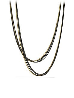 David Yurman - 18K Gold & Blackened Sterling Silver Four-Chain Long Necklace
