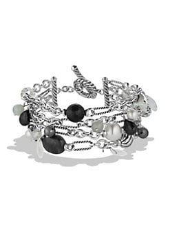 David Yurman - Semi-Precious Multi-Stone Stainless Steel Bracelet/Onyx