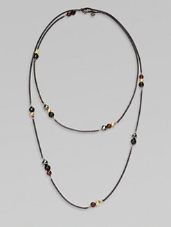 David Yurman - Long 18K Gold & Semi-Precious Multi-Stone Station Necklace