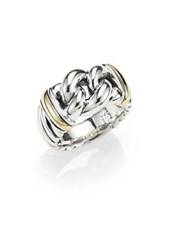 David Yurman - Sterling Silver and 18K Yellow Gold Ring