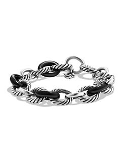 David Yurman - Black Ceramic & Sterling Silver Large Oval Link Bracelet