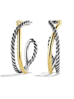 David Yurman - Sterling Silver & 14k Gold Hoop Earrings