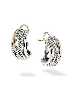 David Yurman - Sterling Silver & 14K Gold J-Hoop Earrings