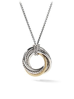 David Yurman - Sterling Silver & 14K Gold Pendant Necklace