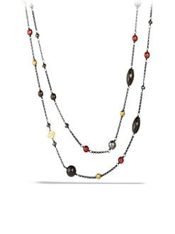David Yurman - Semi-Precious Multi-Stone Blackened Sterling Silver Station Necklace