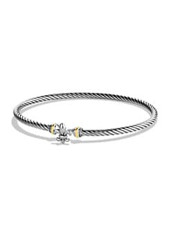 David Yurman - Sterling Silver and 18K Yellow Gold Fleur de Lis Bracelet