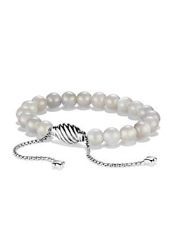 David Yurman - Grey Moonstone & Sterling Silver Beaded Bracelet