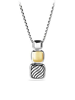 David Yurman - Sterling Silver and 18K Gold Small Chiclet Collection Necklace