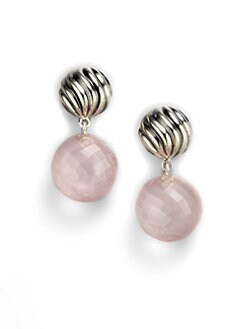 David Yurman - Rose Quartz Sterling Silver Ball Drop Earrings