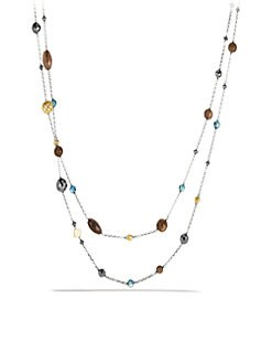 David Yurman - Semi-Precious Multi-Stone & 18K Gold Station Necklace