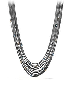 David Yurman - Blue Topaz, Hematite, Sterling Silver and 18K Yellow Gold Multi-Chain Necklace