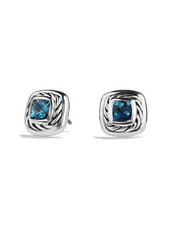David Yurman - Blue Topaz & Sterling Silver Button Earrings