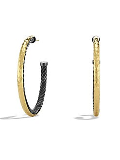 David Yurman - Sterling Silver & 18K Gold Hoop Earrings