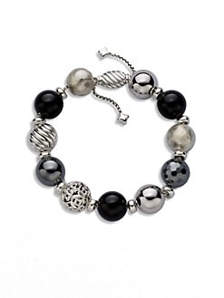 David Yurman - Black Onyx, Hematite & Sterling Silver Ball Bracelet