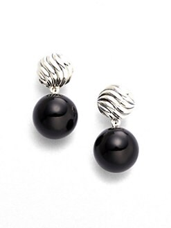 David Yurman - Black Onyx & Sterling Silver Ball Drop Earrings