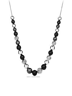 David Yurman - Black Onyx, Hematite & Sterling Silver Bead Necklace