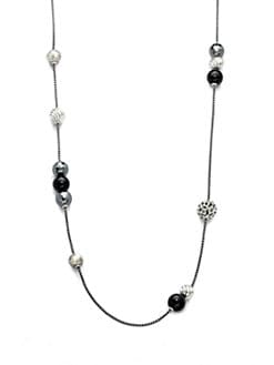 David Yurman - Black Onyx, Hematite & Sterling Silver Long Necklace