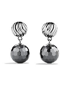 David Yurman - Hematite & Sterling Silver Ball Drop Earrings