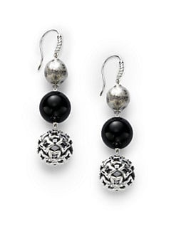 David Yurman - Black Onyx & Sterling Silver Triple Drop Earrings