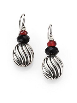David Yurman - Garnet, Black Onyx & Sterling Silver Drop Earrings