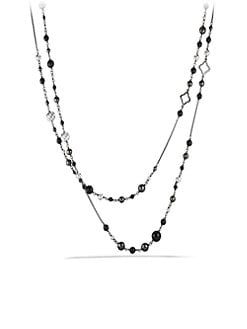 David Yurman - Black Onyx, Hematite & Sterling Silver Long Station Necklace