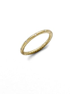David Yurman - Diamond & 18k Yellow Gold Stackable Ring