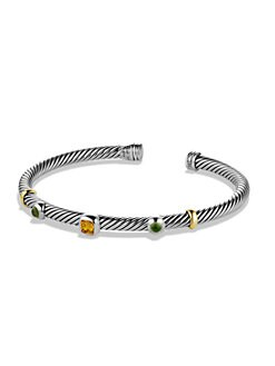 David Yurman - Citrine, Green Tourmaline, Sterling Silver and 18K Yellow Gold Bracelet