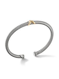 David Yurman - Sterling Silver & 18K Gold X Bangle Bracelet
