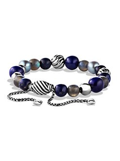 David Yurman - Beaded Sterling Silver Bracelet/Lapis