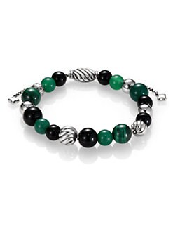 David Yurman - Black Onyx, Green Onyx & Sterling Silver Beaded Bracelet