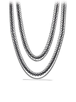 David Yurman - Sterling Silver & Blackened Sterling Silver Three-ChainNecklace