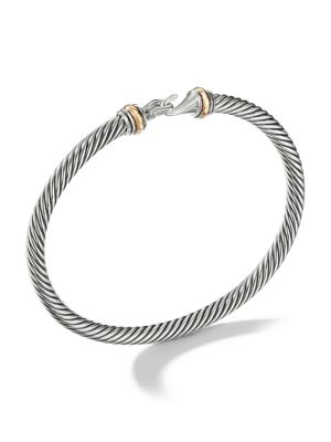 Cable Buckle Bracelet with 18K Yellow Gold/4mm