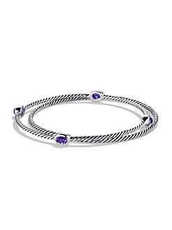David Yurman - Amethyst & Sterling Silver Bangle Bracelet Set