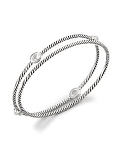 David Yurman - Crystal & Sterling Silver Bangle Bracelet Set