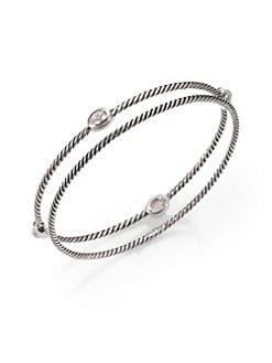 David Yurman - Clear Crystal & Sterling Silver Station Bangle Bracelet Set