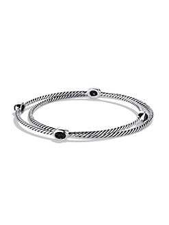 David Yurman - Black Onyx & Sterling Silver Bangle Bracelet Set