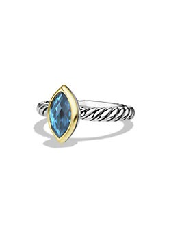 David Yurman - Marquis Hampton Blue Topaz, 18K Gold & Sterling Silver Ring
