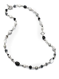 David Yurman - Freshwater Pearl, Black Onyx and Sterling Silver Bead Necklace