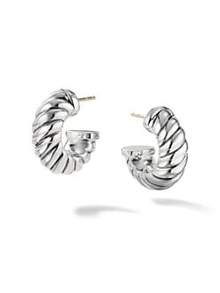 David Yurman - Sterling Silver Cable Hoop Earrings