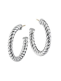 David Yurman - Sterling Silver Cable Hoop Earrings/1.5