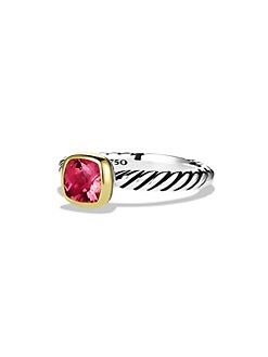 David Yurman - Pink Tourmaline, Sterling Silver & 18K Yellow Gold Ring