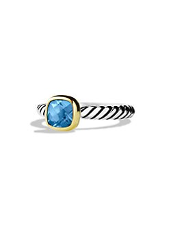 David Yurman - Blue Topaz, 18K Gold & Sterling Silver Ring