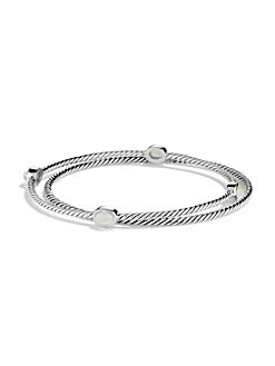 David Yurman - Moon Quartz & Sterling Silver Bangle Bracelet Set