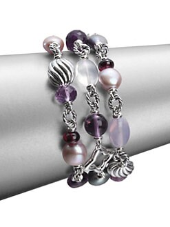 David Yurman - Semi-Precious Multi-Stone & Sterling Silver Multi-Row Bracelet
