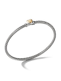 David Yurman - Sterling Silver & 18K Gold Heart Petite Bracelet