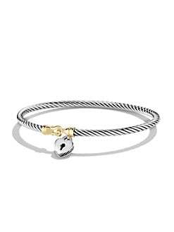 David Yurman - 18K Gold & Sterling Silver Heart Lock Petite Bracelet